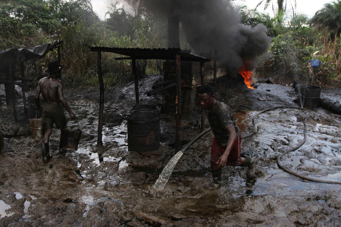 One of the many illegal refineries in Nigeria