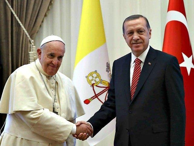 Pope Francis with President Recep Erdogan