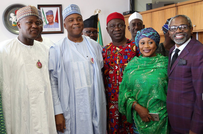 Saraki at 55 celebrates with Leadership of the Senate and House of Representatives