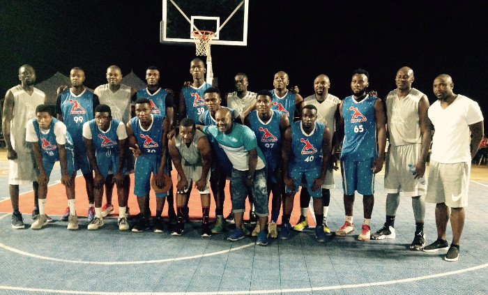 Team `Blame it on Experience' and South East All Stars after their last Group A game at 2017 Mark 'Ball basketball competition