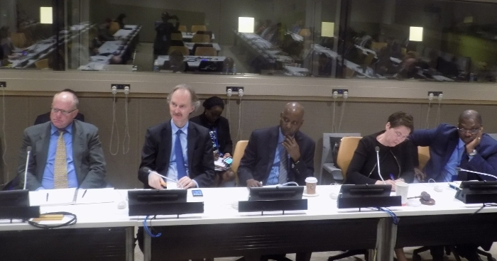 Geir Pedersen, Permanent Representative of Norway to the UN (2nd left) with Prof. Tijjani Bande, Nigeria's Permanent Representative to the UN (centre) during one of the workshops organised by the two Missions on 'Combating Illicit Financial Flows and Assets Recovery' in New York