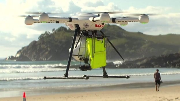 A drone that rescued two Australian teens from drowning
