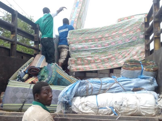 A truck loaded with materials for displaced victims