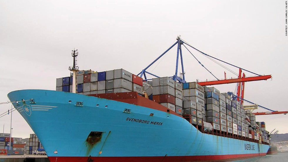 Cargo ship loaded with containers of goods
