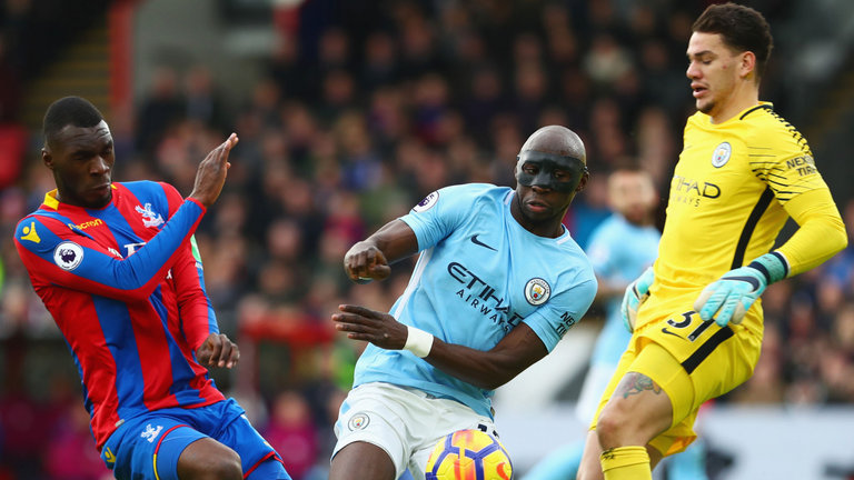 Christian Benteke is foiled by Eliaquim Mangala and Ederson during the encounter
