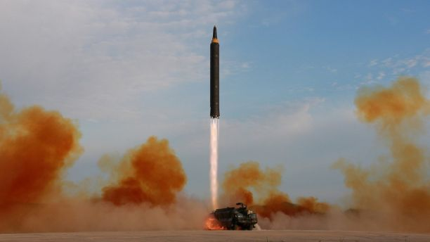 North Korean leader Kim Jong Un guided the launch of a Hwasong-12 missile in 2017. (Reuters)