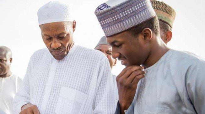 President Muhammadu Buhari with his son Yusuf Buhari