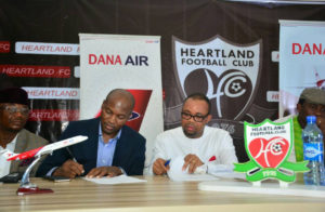 Signing of the partnership deal between Dana Air and Heartland FC