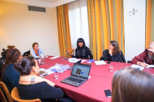 Actress Stephanie Okere-Linus in a meeting with stakeholders in Italy