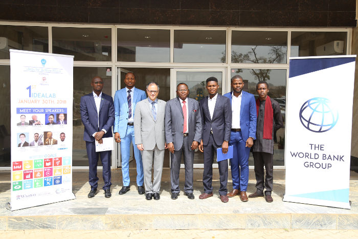 World Bank Nigeria Country Director, Mr Rachid Benmessaoud (Third left) with Prof. Peter Onwualu of the African University of Science and Technology (AUST) at a conference hosted by World Bank and AUST in Abuja