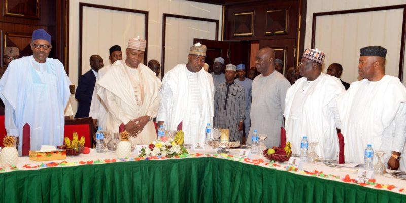 Security: President Buhari, left, with NASS leaders, Bukola Saraki, Dogara and others